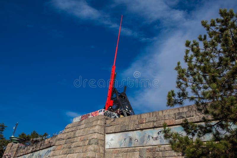 Reuzemetronoom op Letna-Heuvel in Praag stock afbeeldingen