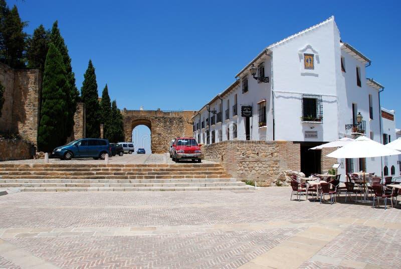 Reuzenboog en Santa Maria Square, Antequera stock foto's