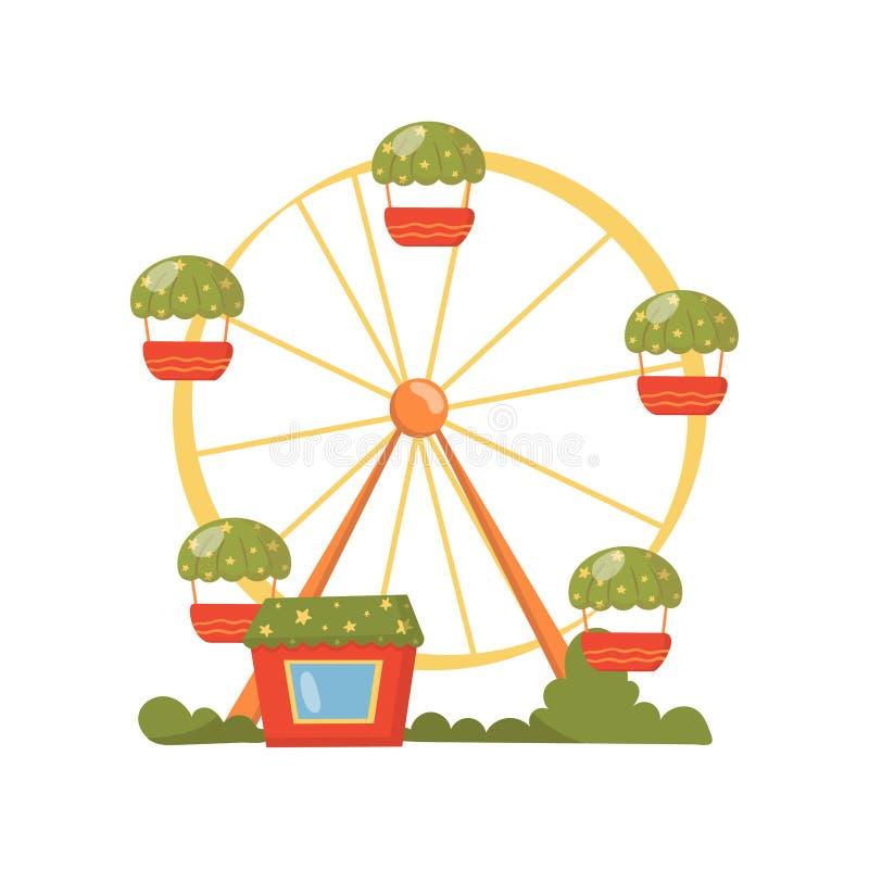 Reuzenrad, carrousel in de vectorillustratie van het pretparkbeeldverhaal stock illustratie