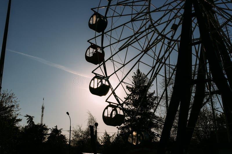 Reuzenrad op een achtergrond van bomen stock afbeeldingen