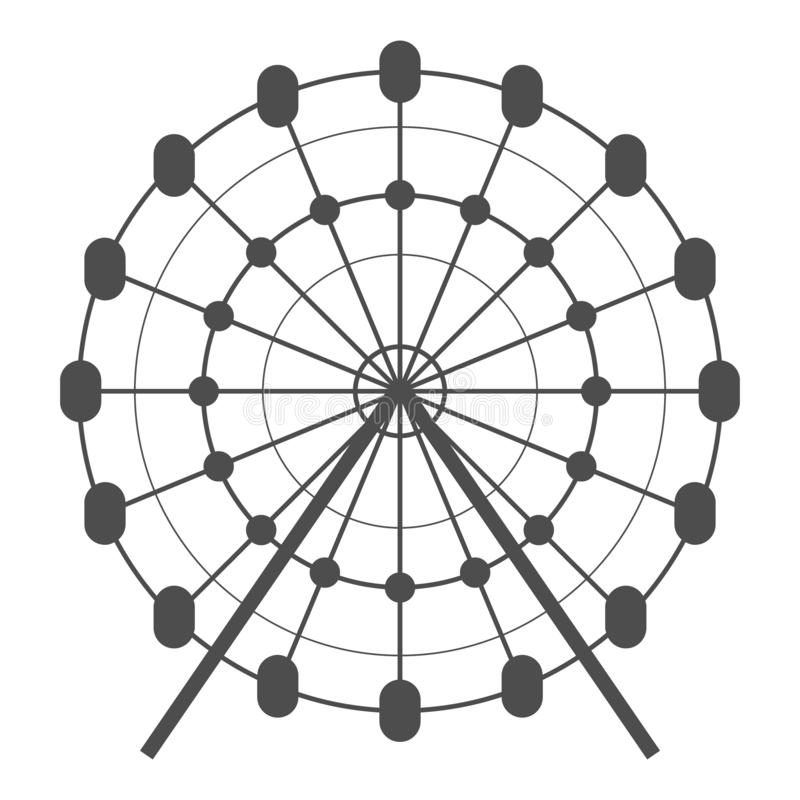 Reuzenrad vectorpictogram Carrousel in parkpictogram De illustratie van de vermaakrit Eenvoudig bedrijfsconceptenpictogram op wit vector illustratie