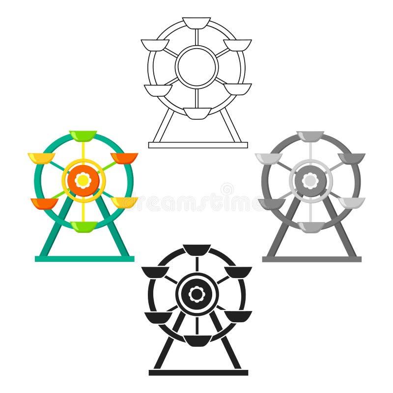 Reuzenradpictogram in beeldverhaalstijl op witte achtergrond wordt geïsoleerd die Van de het symboolvoorraad van de speltuin de v stock illustratie