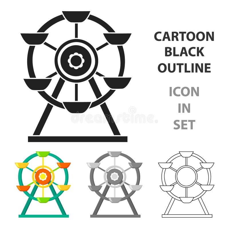 Reuzenradpictogram in beeldverhaalstijl op witte achtergrond wordt geïsoleerd die Van de het symboolvoorraad van de speltuin de v vector illustratie