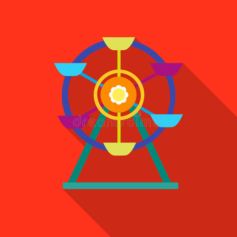 Reuzenradpictogram in vlakke die stijl op witte achtergrond wordt geïsoleerd Van de het symboolvoorraad van de speltuin de vector royalty-vrije illustratie