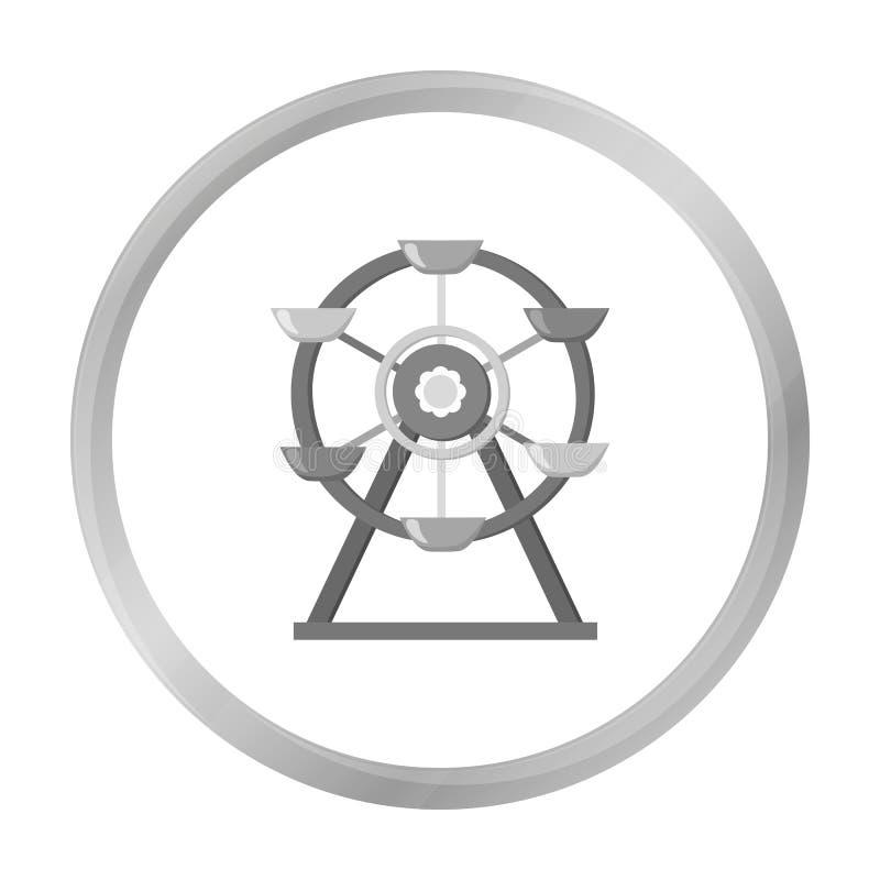 Reuzenradpictogram in zwart-wit stijl die op witte achtergrond wordt geïsoleerd Van de het symboolvoorraad van de speltuin de vec vector illustratie