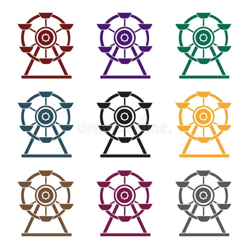 Reuzenradpictogram in zwarte die stijl op witte achtergrond wordt geïsoleerd Van de het symboolvoorraad van de speltuin de vector stock illustratie