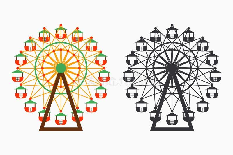 Reuzenradreeks Grote ronde carrousel Pretparkaantrekkelijkheid Vector royalty-vrije illustratie