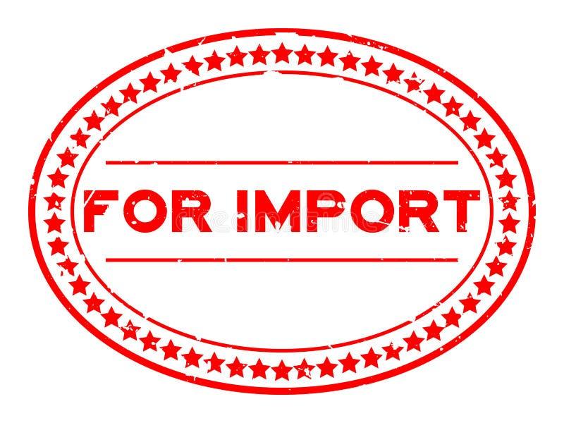 Reuzenrood voor de invoer van woord ovaal rubberen stempel op witte achtergrond stock illustratie