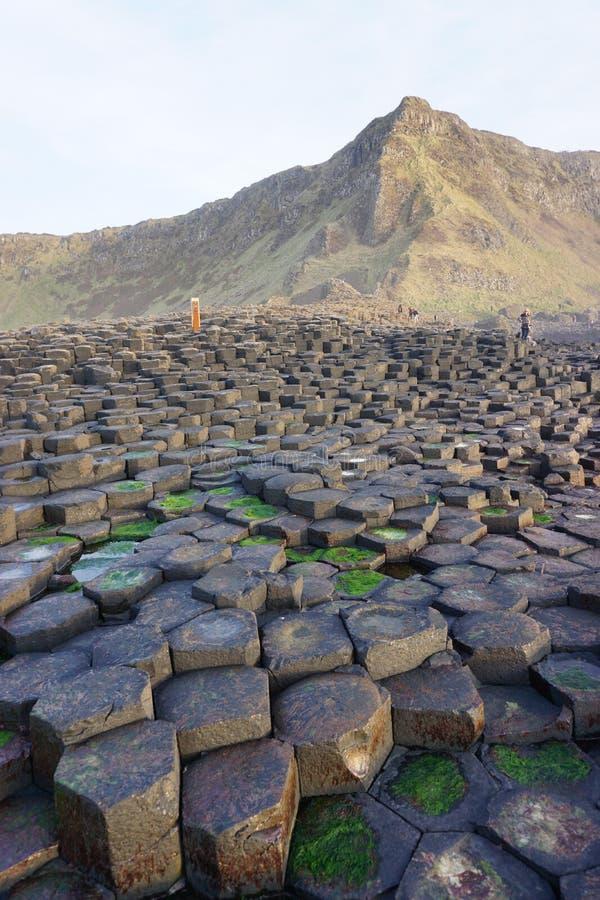 Reuzeverhoogde weg in Noord-Ierland stock foto