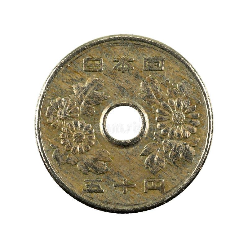 revés de la moneda de 50 yenes japoneses aislado en el fondo blanco fotos de archivo libres de regalías