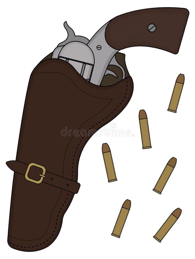 Revólver del oeste salvaje stock de ilustración