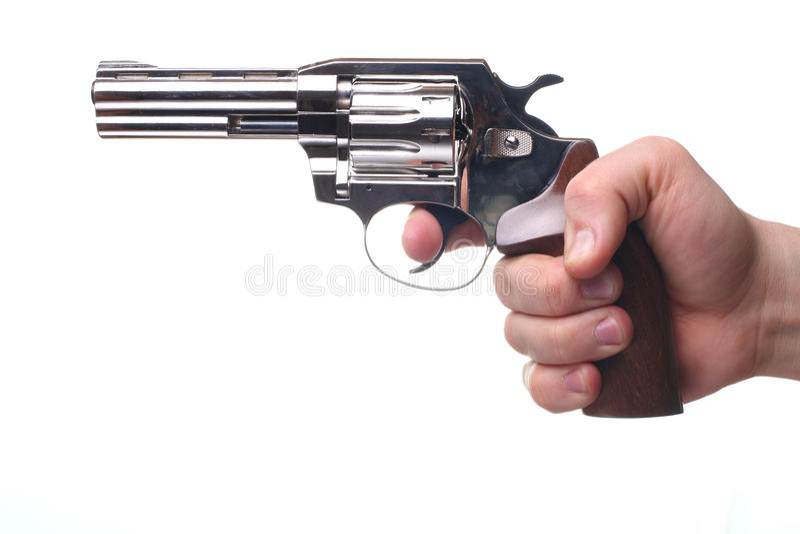 Revólver isolado no branco imagens de stock