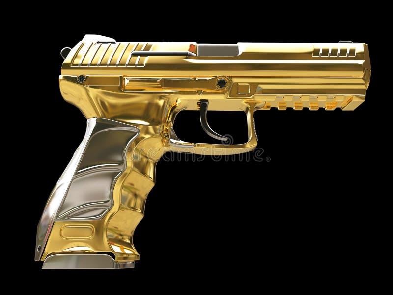 Revólver moderno semi automático dourado - vista lateral ilustração royalty free