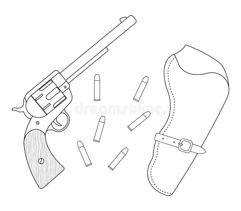Revólver, pistolera de cuero, balas contorno stock de ilustración
