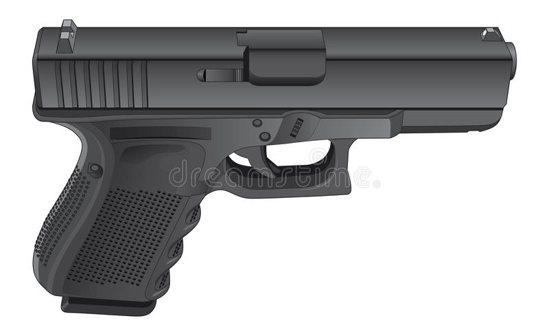 Revólver semi automático da arma ilustração stock