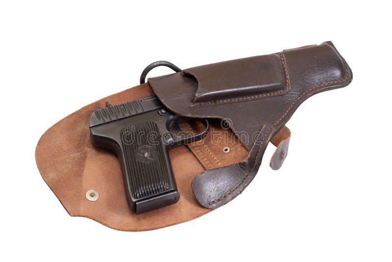 Revólver soviético TT em um holster imagens de stock