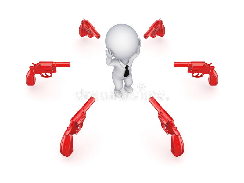 Revólveres alrededor de la pequeña persona 3d. stock de ilustración