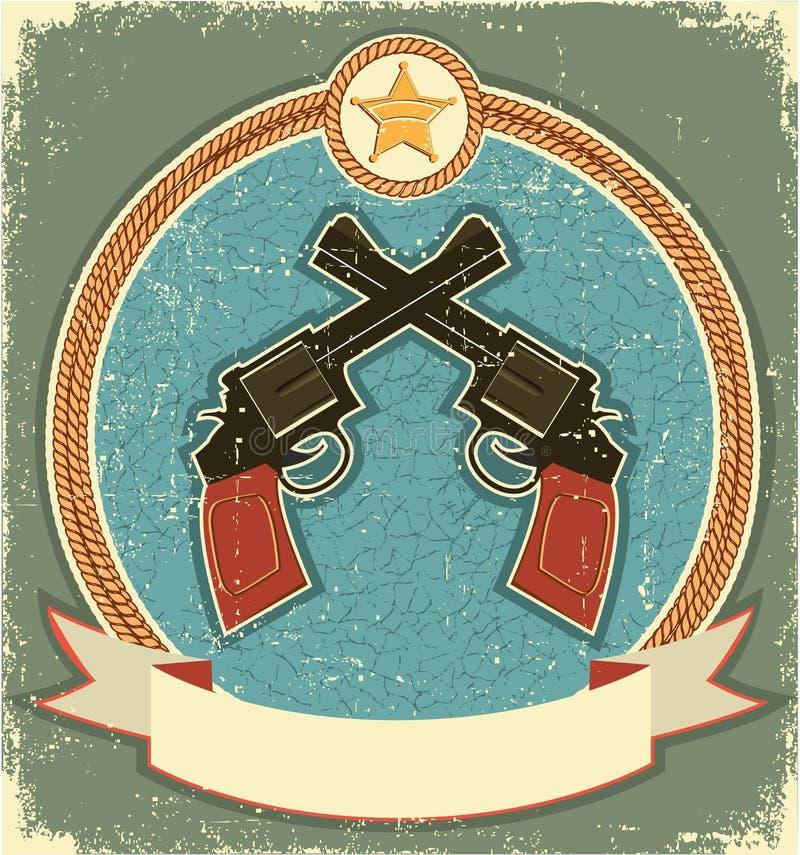 Revólveres e estrela ocidentais do xerife. Vintage ilustração do vetor
