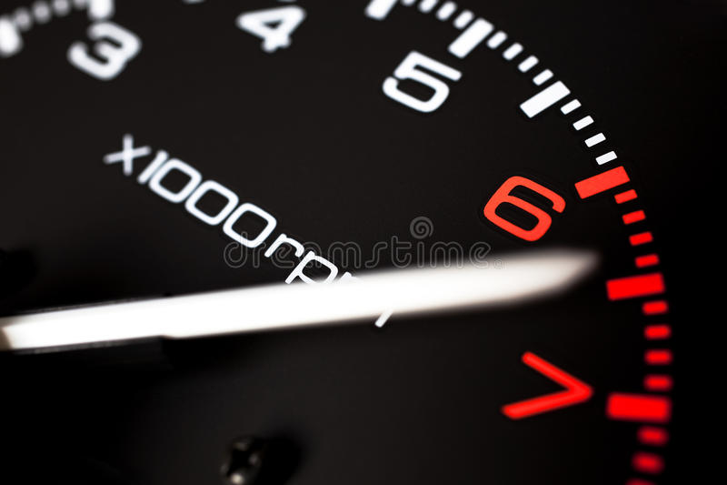 Rev counter tachometer stock photography