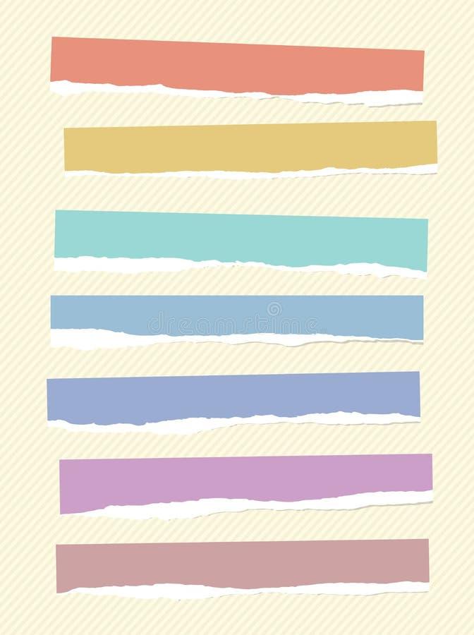 Rev sönder färgrika stycken för tomt papper klibbas på randig bakgrund vektor illustrationer
