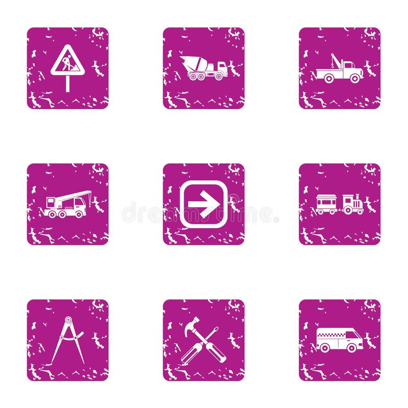 Revamp of carriageway icons set, grunge style. Revamp of carriageway icons set. Grunge set of 9 revamp of carriageway vector icons for web isolated on white stock illustration