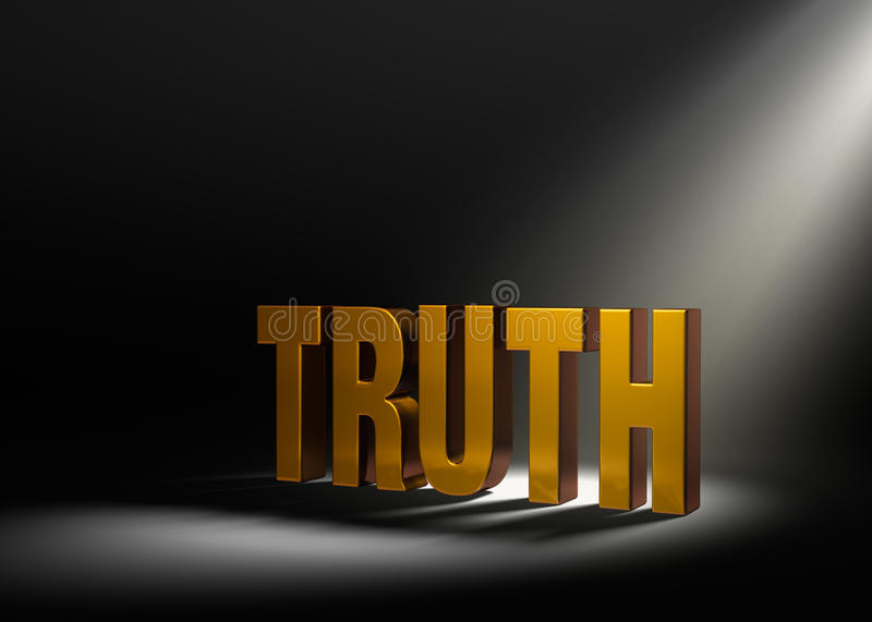 Revealing Truth. Angled spotlight revealing shiny gold TRUTH on a dark background stock illustration