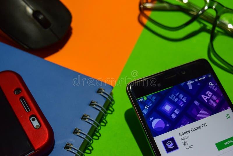 Revelador app de los comp cc de Adobe en la pantalla de Smartphone fotografía de archivo libre de regalías