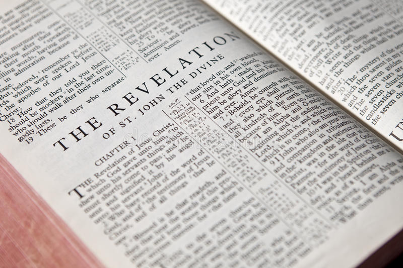 Revelation text background. Text background of the book of revelation from antique bible royalty free stock photos