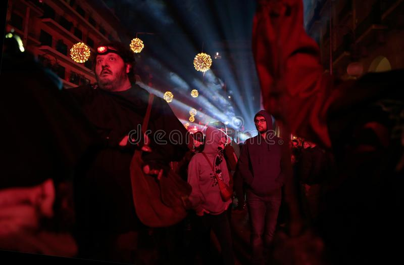Revellers during saint sebastian local patron festivities. Revellers seen before a traditional Correfoc fire run in Palma de Mallorca. correfoc is a traditional royalty free stock photos