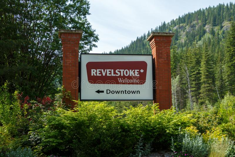 Revelstoke, Canada - Circa 2019 : Welcome to Revelstoke sign. Post stock photography