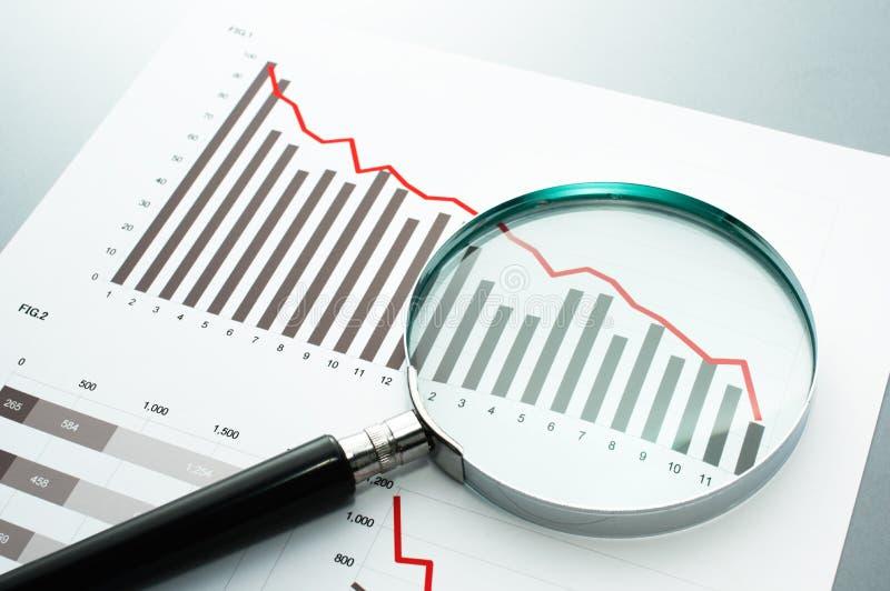 Revendo o relatório financeiro Olhando a carta da diminuição com magni fotografia de stock royalty free