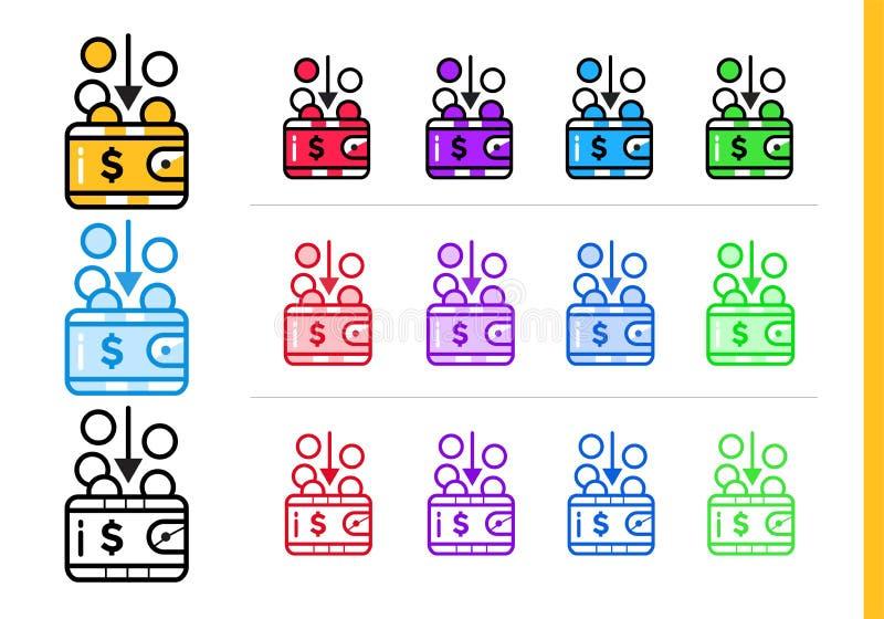 REVENU linéaire unique d'icônes des finances, encaissant Contour moderne i illustration de vecteur