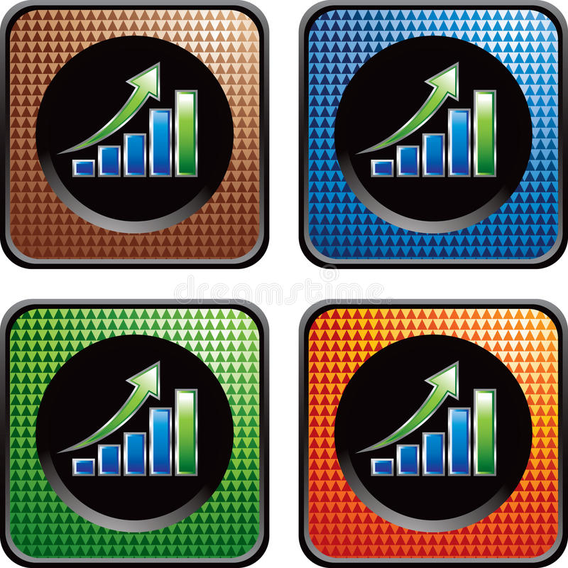 Free Revenue Growth Chart On Checkered Web Buttons Royalty Free Stock Images - 11574599