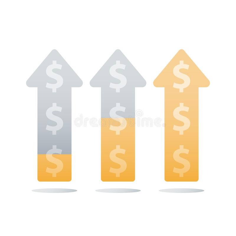 Revenue increase, income growth, financial ascending chart, business acceleration, earn more money, return on investment. Financial ascending chart, revenue stock illustration