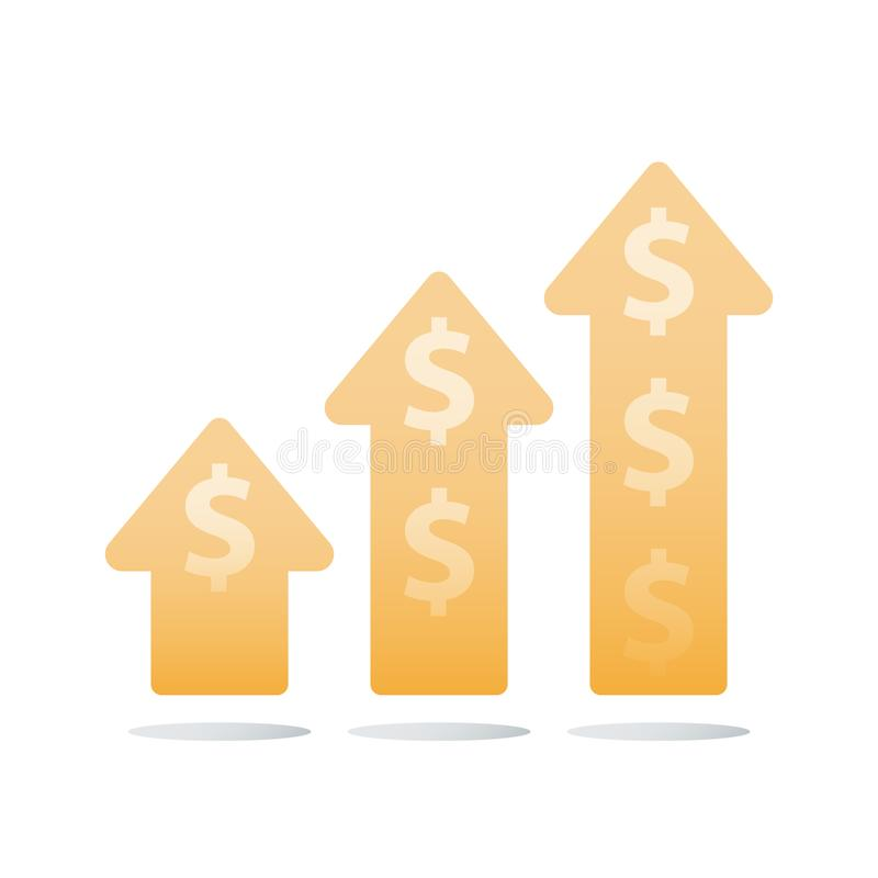 Revenue increase, income growth, financial ascending chart, business acceleration, earn more money, return on investment. Financial ascending chart, revenue royalty free illustration