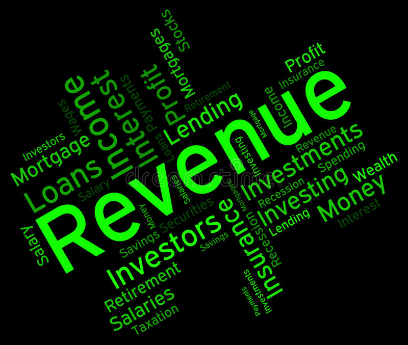Revenue Word Represents Words Wordcloud And Revenues royalty free illustration
