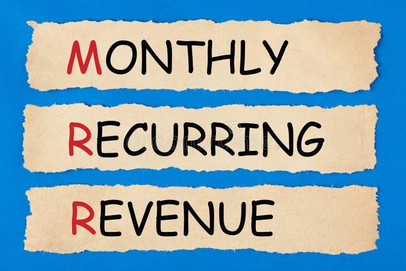 RevenueMRR périodique mensuel photos stock