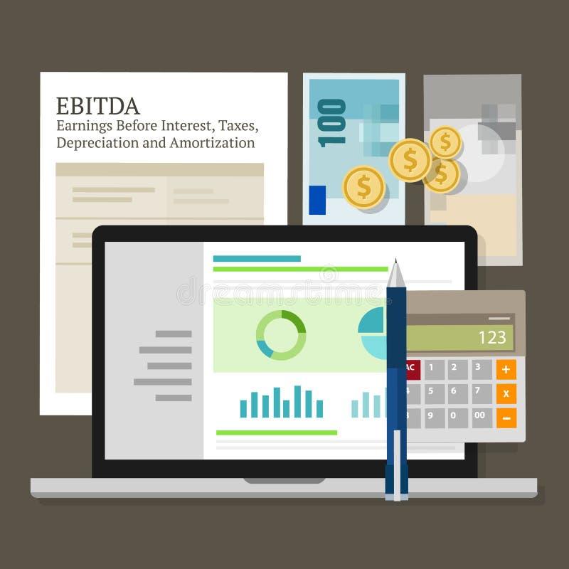 Revenus d'EBITDA avant intérêt, impôts, dépréciation et amortissement illustration stock