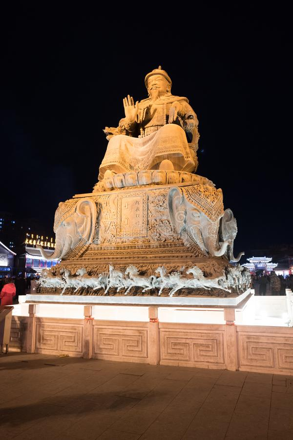 Ghengis khan statue, Hohhot China illuminated at night black sky. A revered leader in this region, pride of the people, inner-Mongolia, Mongolian population royalty free stock photography