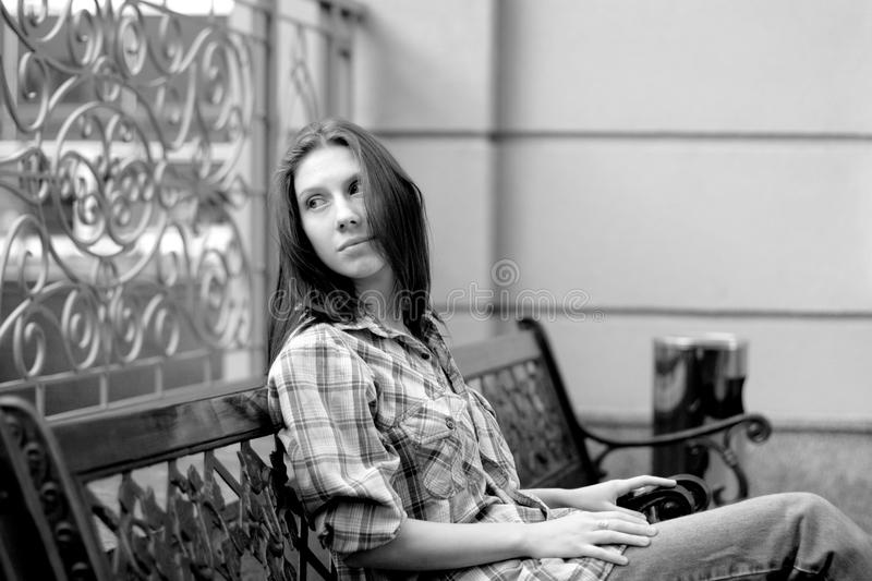 Download Reverie stock photo. Image of casual, work, girl, beanch - 14258418