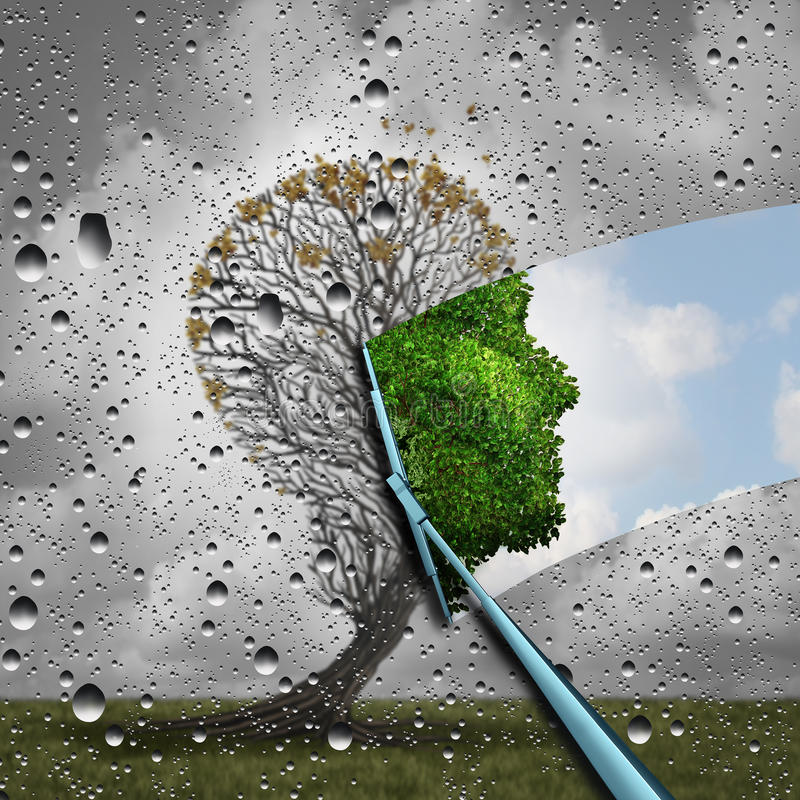Reverse Aging Process. And make young again medical concept or plastic surgery symbol as a wiper wiping away old decaying tree and revealing to a healthy green royalty free illustration