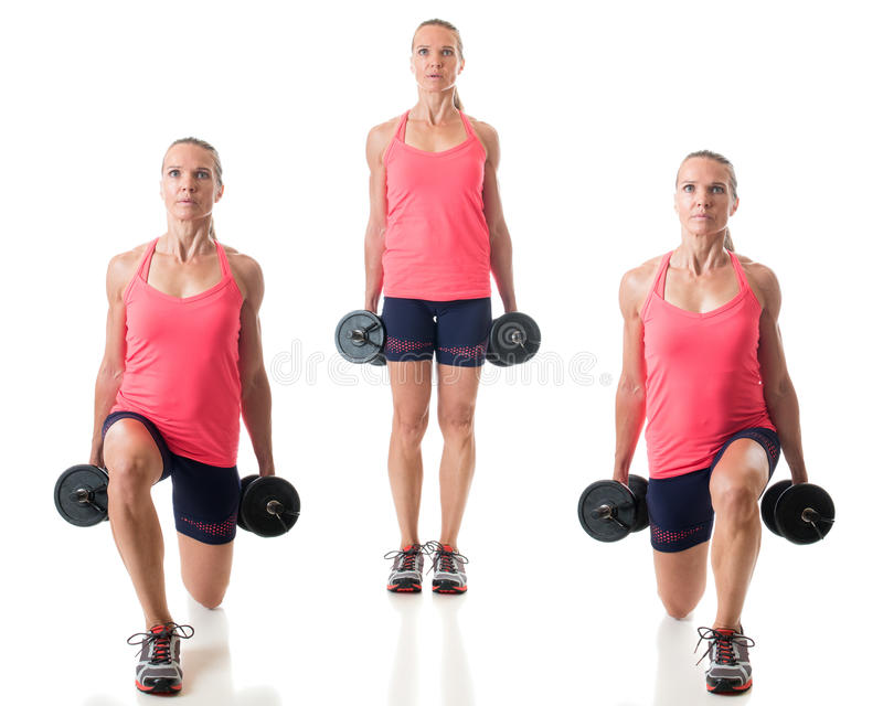 Reverse Lunge. Exercise. Studio shot over white royalty free stock images
