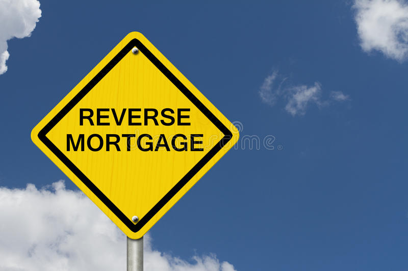 Reverse Mortgage Caution Road Sign stock photography