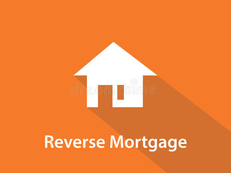Reverse mortgage white text illustration with white house silhouette and orange background. Vector royalty free illustration