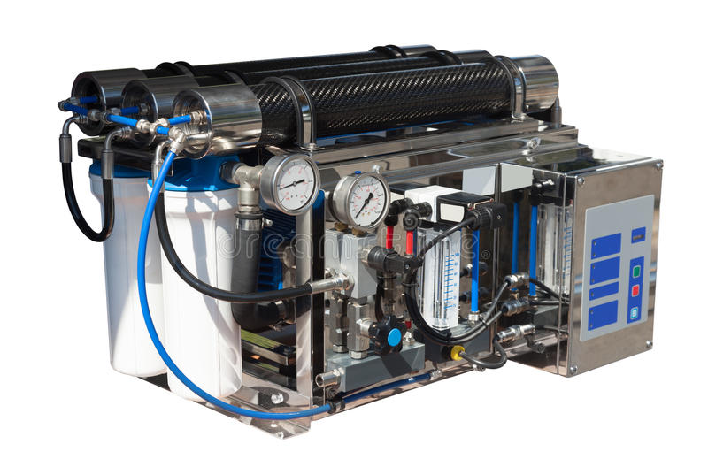 Reverse osmosis system. Isolated over white royalty free stock image