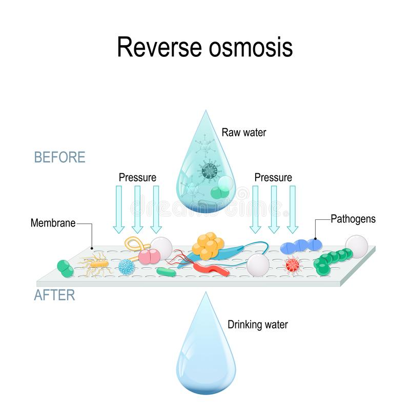 Reverse osmosis use the membrane to act like an extremely fine filter to create drinking water from contaminated water. stock illustration
