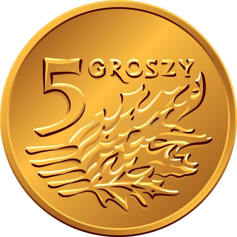 Reverse Polish Money five groszy copper coin vector illustration