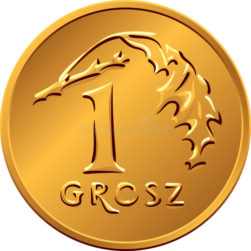 Reverse Polish Money one Grosz copper coin royalty free stock photo