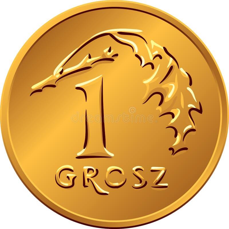 Reverse Polish Money one Grosz copper coin stock illustration