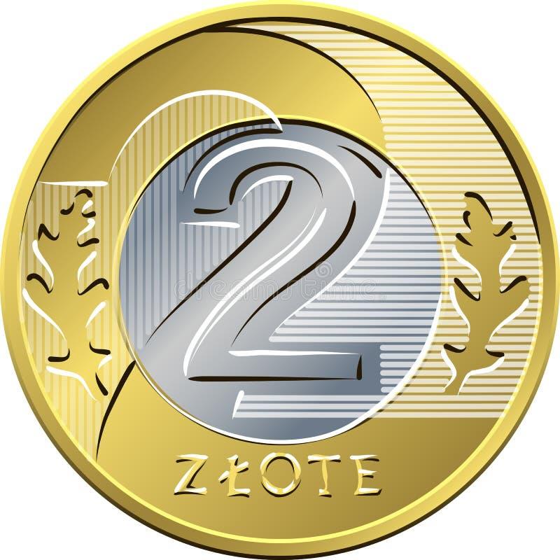 Reverse Polish Money two zloty coin royalty free illustration